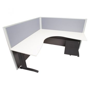 Smart Corner Workstation White Desk Top, with 1250mm High Grey Screen Dividers