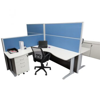 Smart Corner Workstation with Blue Screen Dividers - 1650mm and 1250mm