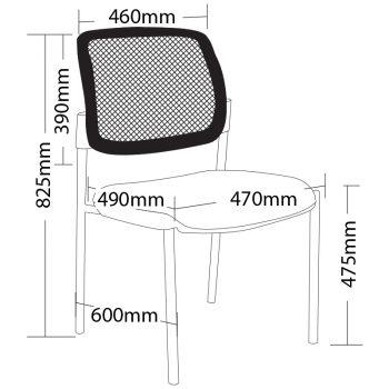 Atlas 4 Leg Chair no Arms, Dimensions