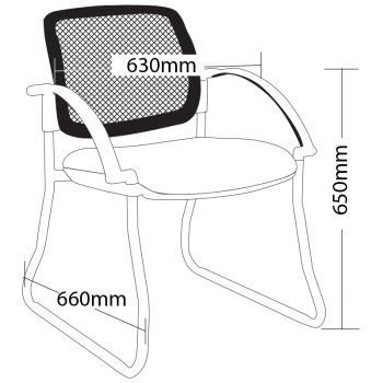 Atlas Sled Frame Chair with Arms, Dimensions