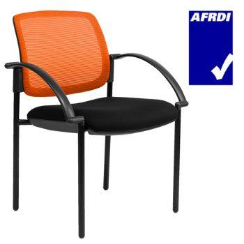 Atlas Visitor Chair Black 4 Leg Frame with Arms, Orange Mesh Back