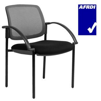 Atlas Visitor Chair Black 4 Leg Frame with Arms, Slate Mesh Back