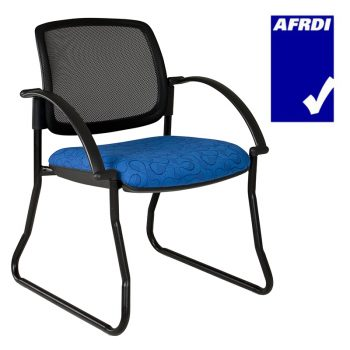 Atlas Visitor Chair Black Sled Frame with Arms, Black Mesh Back