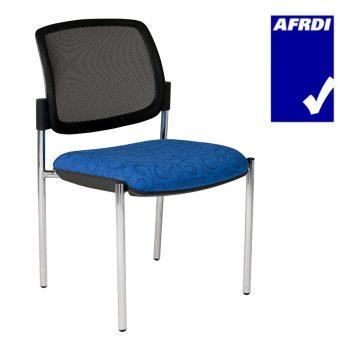 Atlas Visitor Chair Chrome 4 Leg Frame no Arms, Black Mesh Back