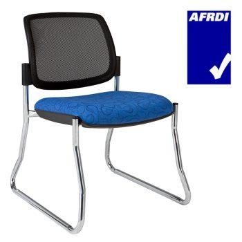 Atlas Visitor Chair Chrome Sled Frame no Arms, Black Mesh Back