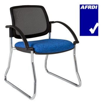 Atlas Visitor Chair Chrome Sled Frame with Arms, Black Mesh Back
