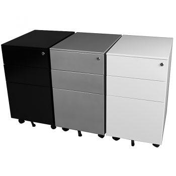 Super Tuff Slimline Mobile Drawer Units, Black, Silver, White