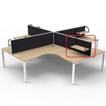 Optional Supreme Screen Mounted Shelf, Natural Oak with Black Brackets, Black Screens