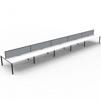 ten attached desks, back to back
