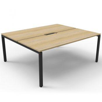 Supreme 2-Way Desk Pod, Natural Oak Desk Tops, Black Under Frame, No Screen Divider