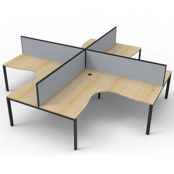 4 corner workstation pod, timber and grey