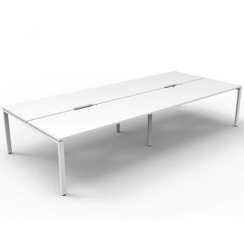 Supreme 4-Way Desk Pod, White Desk Tops, White Under Frame, No Screen Dividers