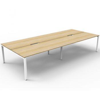 Supreme 4-Way Desk Pod, Natural Oak Desk Tops, White Under Frame, No Screen Dividers