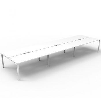 Supreme 6-Way Desk Pod, White Desk Tops, White Under Frame, No Screen Dividers