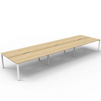 Supreme 6-Way Desk Pod, Natural Oak Desk Tops, White Under Frame, No Screen Dividers