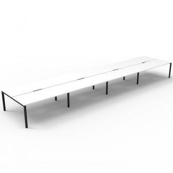 Supreme 8-Way Desk Pod, White Desk Tops, Black Under Frame, No Screen Dividers