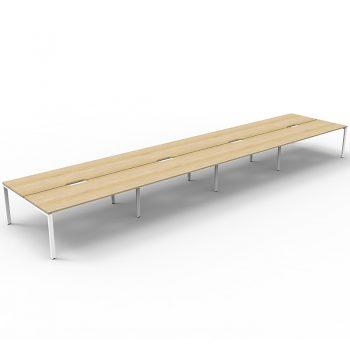 Supreme 8-Way Desk Pod, Natural Oak Desk Tops, White Under Frame, No Screen Dividers