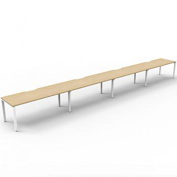 Supreme Desk, 4 Person In-Line, Natural Oak Desk Tops, White Under Frame, No Screen Dividers