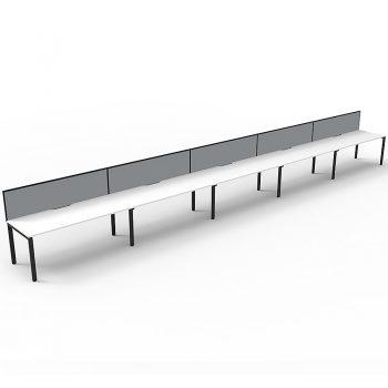 Supreme Desk, 5 Person In-Line, White Desk Tops, Black Under Frame, with Grey Screen Dividers