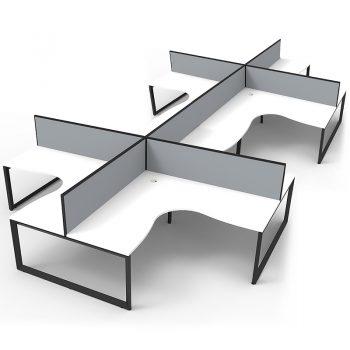 Eight black and white desks