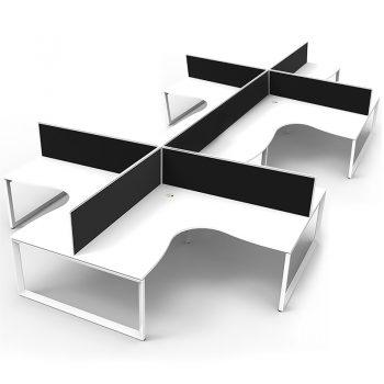 Eight white desks