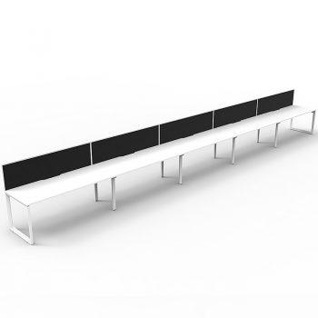 four white anvil desks