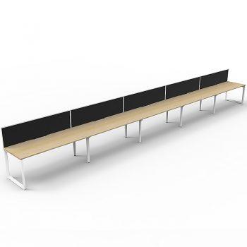 5 oak desks in-line