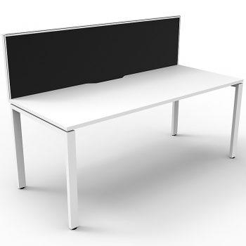 Supreme Single Desk, White Desk Top, White Under Frame, with Black Screen Divider