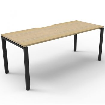 Supreme Single Desk, Natural Oak Desk Top, Black Under Frame, No Screen Dividers