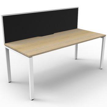 Supreme Single Desk, Natural Oak Desk Top, White Under Frame, with Black Screen Divider