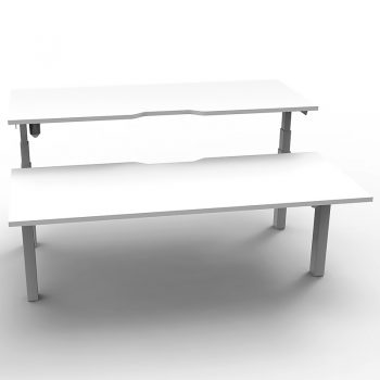 back to back electric sit stand desks, white