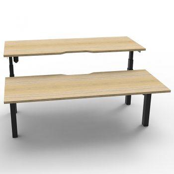 back to back electric sit stand desks, black