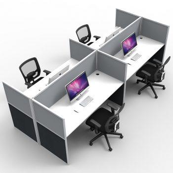 Group of 4 back to back desks