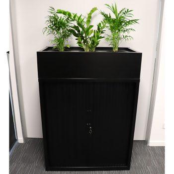 Black tambour unit with planter box