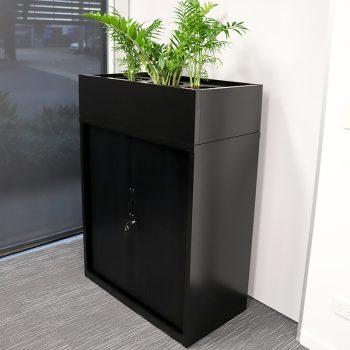 tambour unit with planter box, black