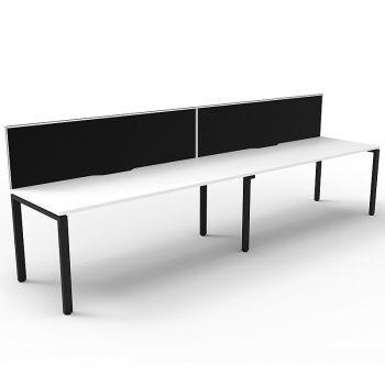 2 straight attached desks