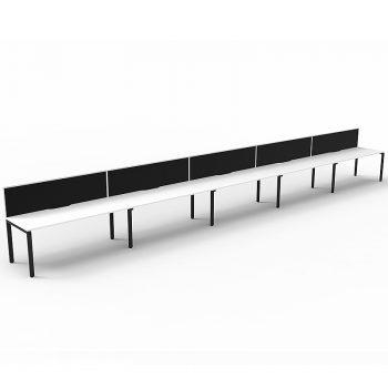 5 straight desks