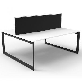 2 white back to back desks