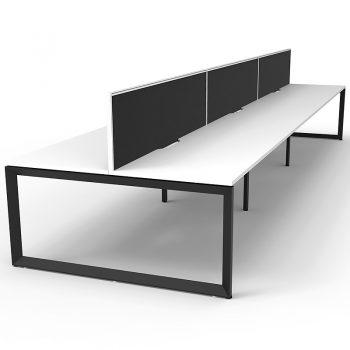 6 white back to back desks