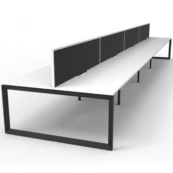 8 back to back white desks