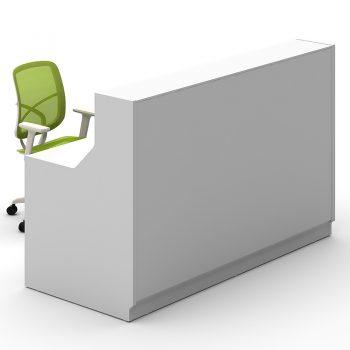 Roma Reception Desk, White Glass Front