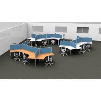 Smart 120 Degree Desk Pods, Blue Screen Dividers
