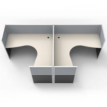 Smart 2 Way Back to Back Corner Workstation Pod, with Grey Screen Dividers, Image 2