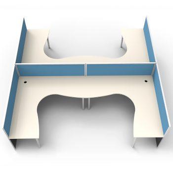 Smart 4 Way Corner Workstation Pod, with Blue Screen Dividers