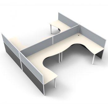 Smart 4 Way Corner Workstation Pod, with Grey Screen Dividers