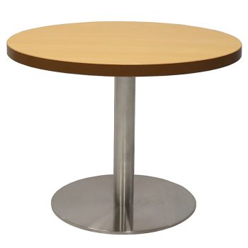Vogue Round Coffee Table, Beech Table Top, Stainless Steel Table Base