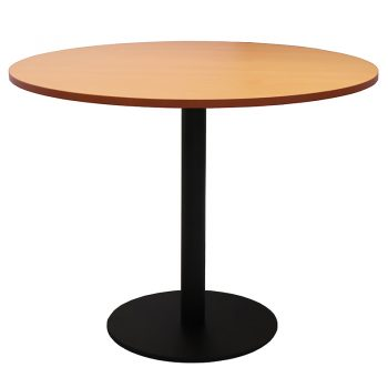 Vogue Round Meeting Table, Beech Table Top, Black Table Base