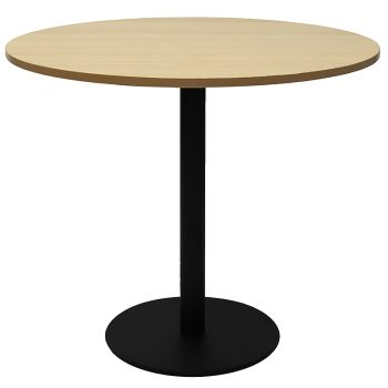 Vogue Round Meeting Table, Natural Oak Table Top, Black Table Base
