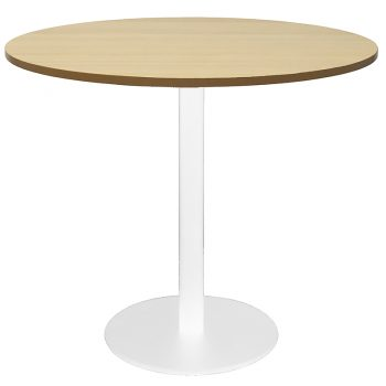 Vogue Round Meeting Table, Natural Oak Table Top, White Table Base
