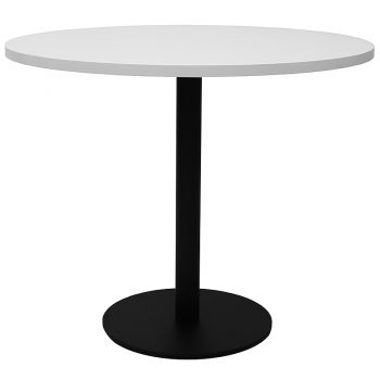 Vogue Round Meeting Table, White Table Top, Black Table Base